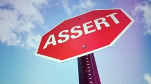 """Пътен знак с надпис """"assert"""""""